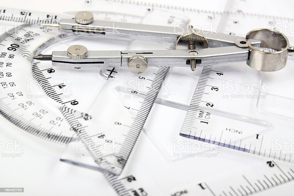 compass and set of rulers royalty-free stock photo