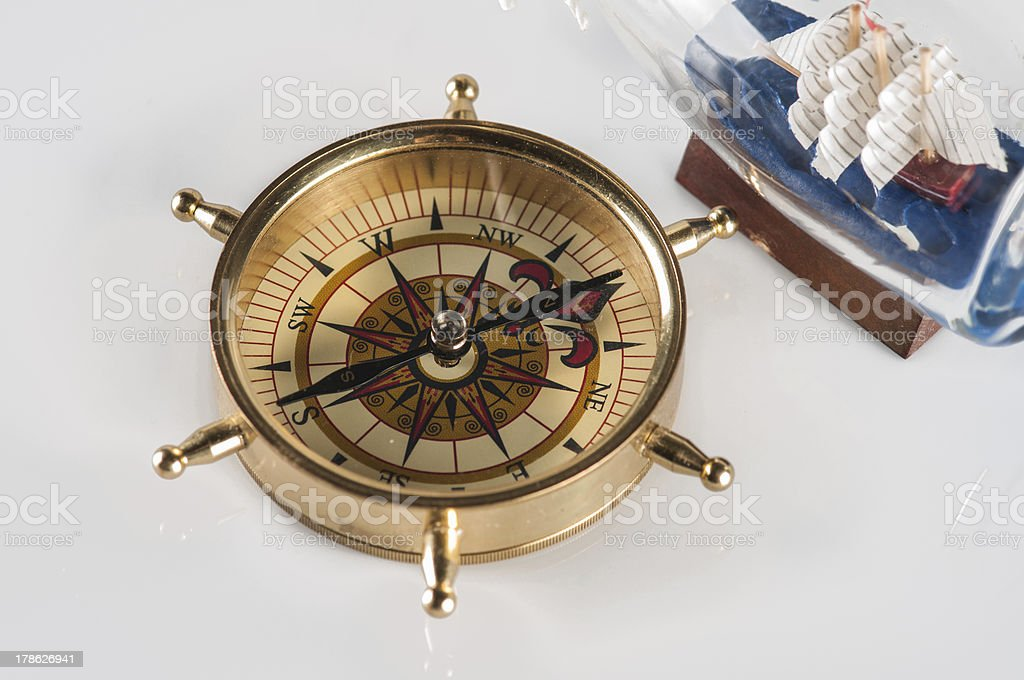 compass and ship in a bottle royalty-free stock photo
