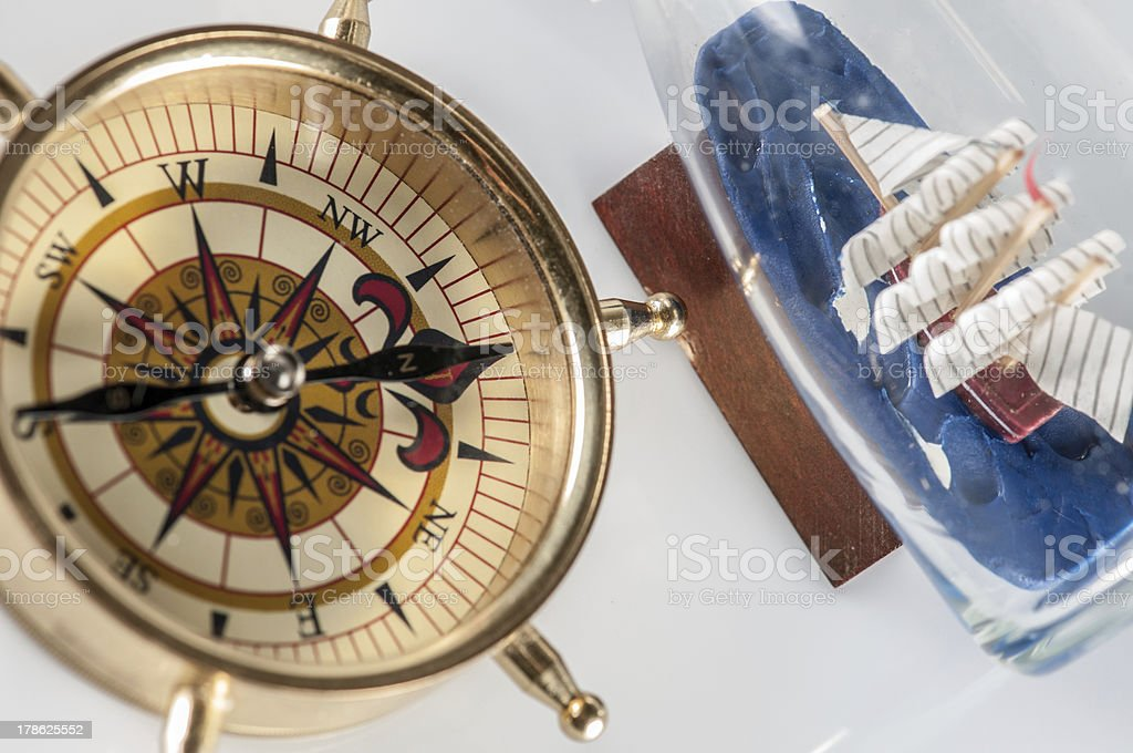 compass and ship stock photo