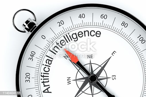 539953610istockphoto Compass Arrow Pointing to Artificial Intelligence 1140404133