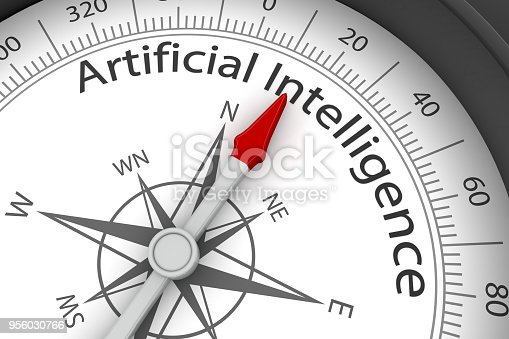 539953610istockphoto Compass Arrow Pointing to Artificial Intelligence 956030766
