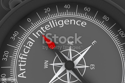 539953610istockphoto Compass Arrow Pointing to Artificial Intelligence 956165730