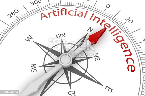 539953610istockphoto Compass Arrow Pointing to Artificial Intelligence 956774154