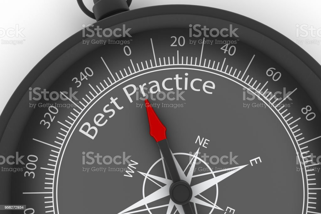 Compass Arrow Pointing to Best Practice stock photo