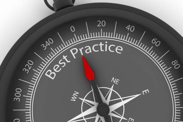 compass arrow pointing to best practice - practising stock photos and pictures