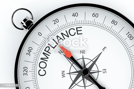 836284468 istock photo Compass Arrow Pointing to Compliance 1140842430