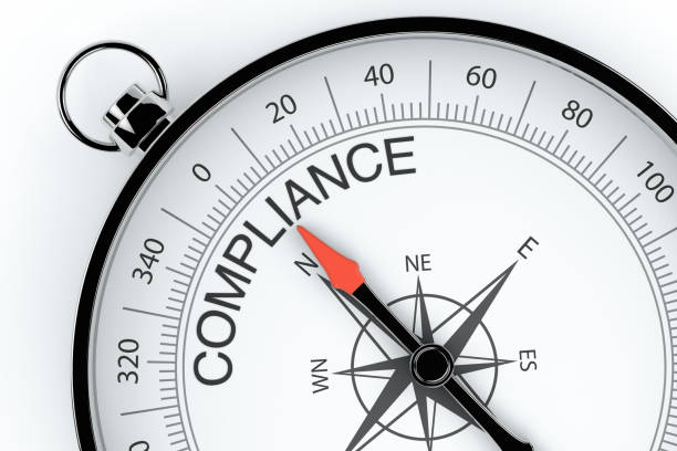 Compass Arrow Pointing to Compliance Compass, Arrow, Quality, Business, Compliance, white background obedience stock pictures, royalty-free photos & images