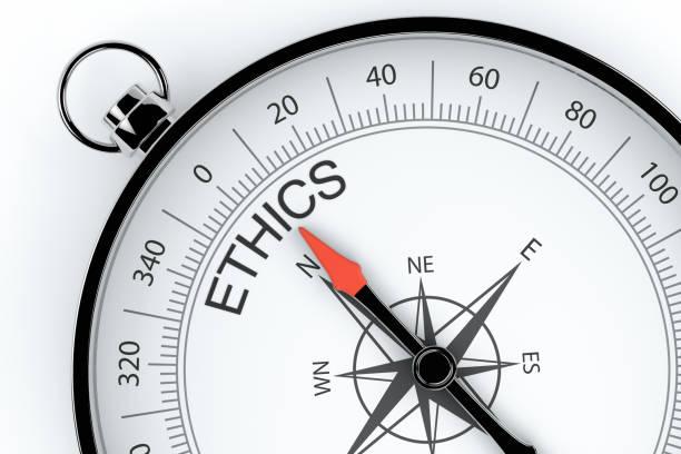 윤리를 가리키는 나침반 화살표 - 도덕성 뉴스 사진 이미지