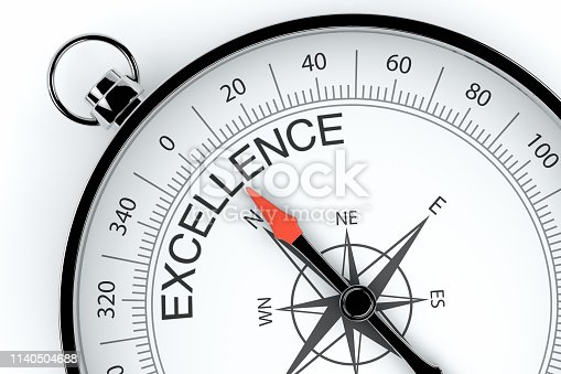 836284468 istock photo Compass Arrow Pointing to Excellence 1140504688