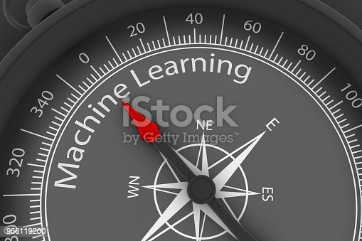 539953610istockphoto Compass Arrow Pointing to Machine Learning 956119200