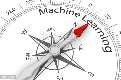 539953610istockphoto Compass Arrow Pointing to Machine Learning 956774184