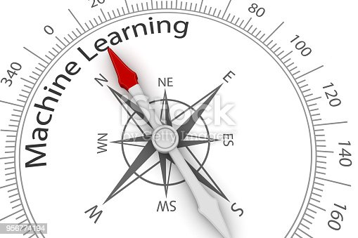 539953610istockphoto Compass Arrow Pointing to Machine Learning 956774194