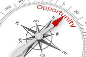 Compass Arrow Pointing to Opportunity