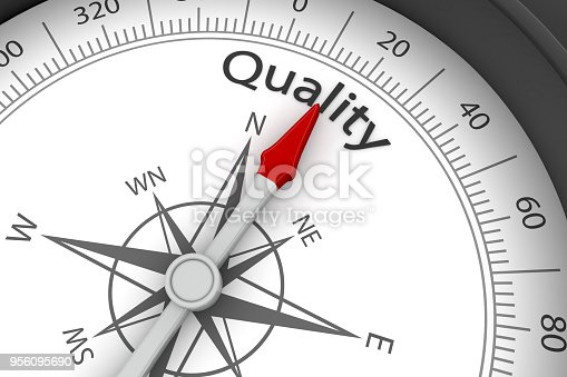 836284468 istock photo Compass Arrow Pointing to Quality 956095690