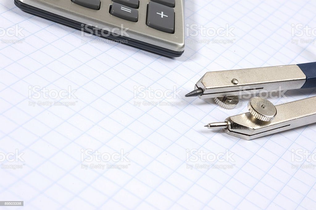 Compass & Calculator royalty-free stock photo