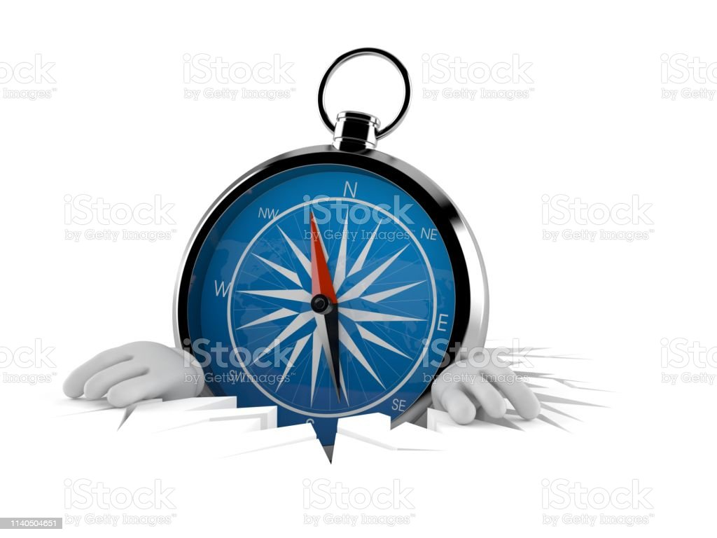 Compass character inside hole stock photo