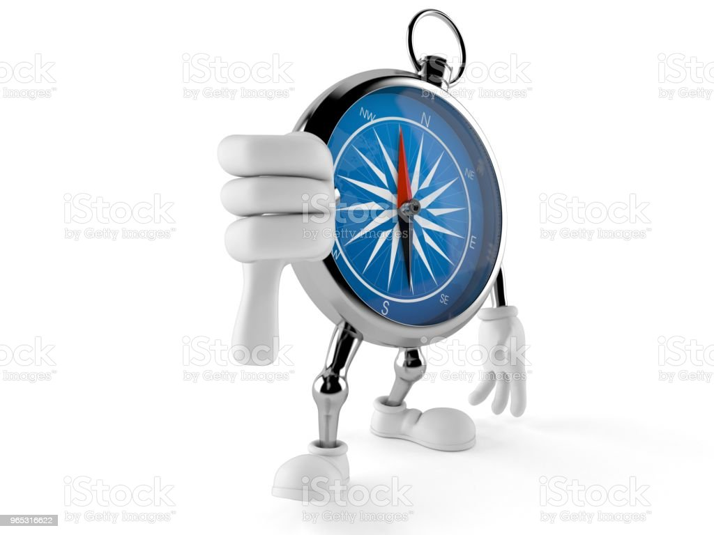 Compass character with thumb down royalty-free stock photo