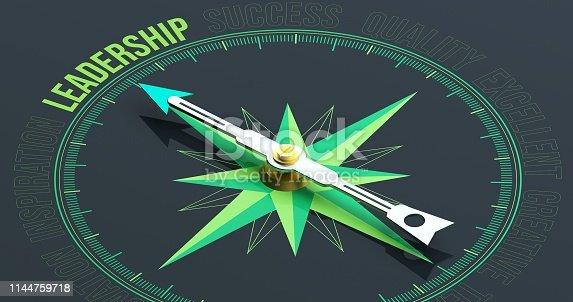 istock LEADERSHIP Compass Concept 3D Rendering 1144759718