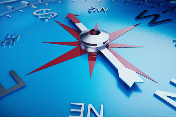 Compass Direction, Blue Tint Background, 3d rendering stock photo