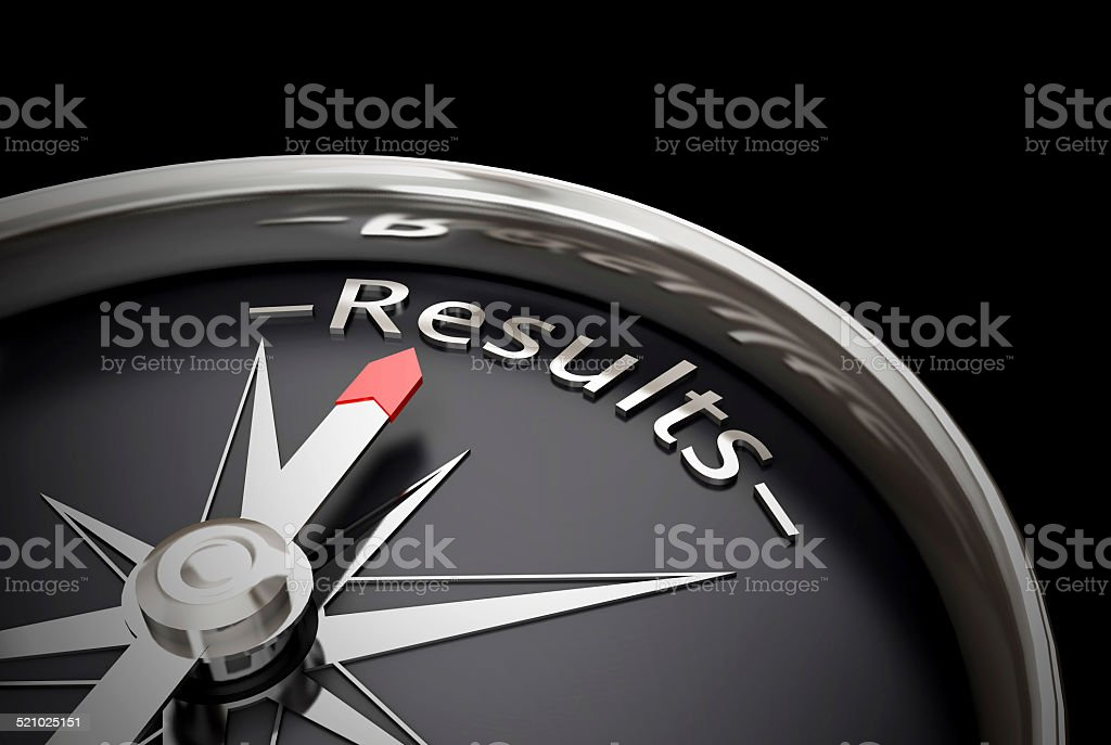 Compass direction pointing towards results Realistic 3D render of a compass, direction is pointing to the word results Arrow Symbol Stock Photo