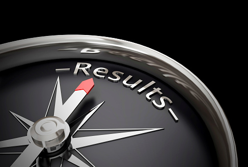 Compass Direction Pointing Towards Results Stock Photo - Download Image Now