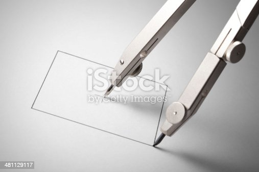 istock Compass drawing a square. Concept image. 481129117