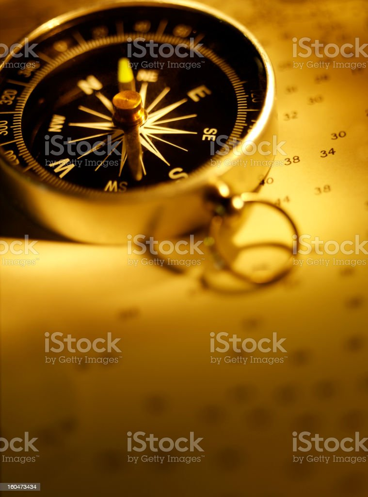 Compass for Nautical Navigation royalty-free stock photo