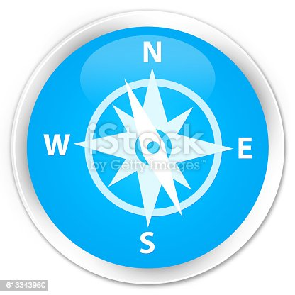 187602778 istock photo Compass icon cyan blue glossy round button 613343960