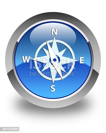 187602778 istock photo Compass icon glossy blue round button 504450690