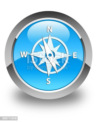 187602778 istock photo Compass icon glossy cyan blue round button 506714508