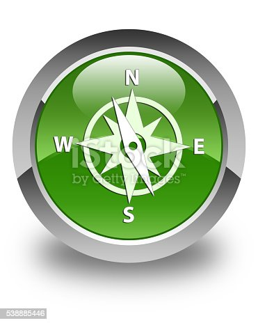 187602778 istock photo Compass icon glossy soft green round button 538885446