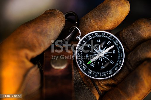 istock Compass in leather glove natural background Using wallpaper or background travel or navigator image 1140174377