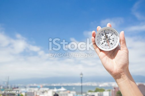 537607438istockphoto Compass in the hand for travel location 610848914