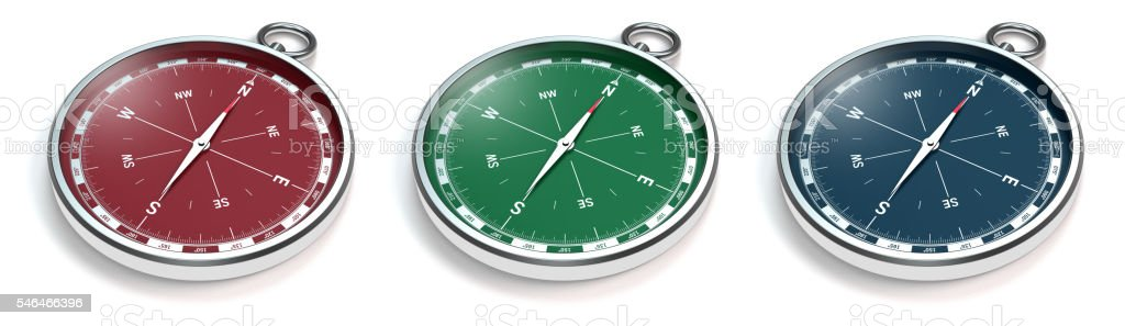 compass in three colors on white – Foto