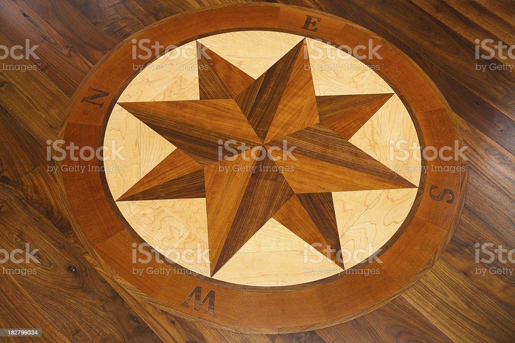 Compass inlay in a hardwood floor. stock photo