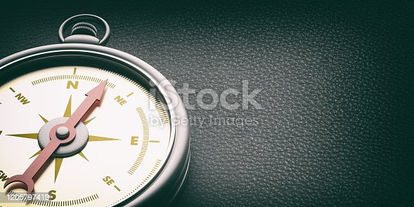 537607438 istock photo Compass instrument against black leather background. 3d illustration 1205797419