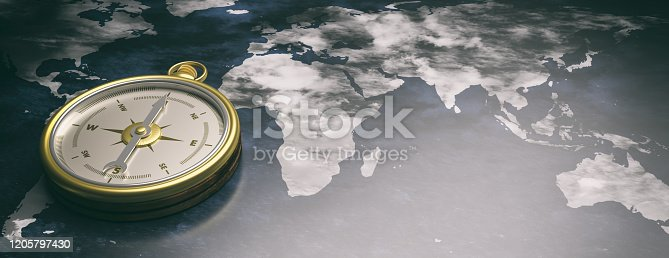 537607438 istock photo Compass instrument against earth map background. 3d illustration 1205797430