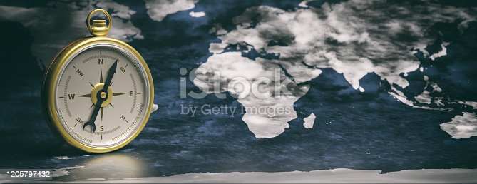 537607438 istock photo Compass instrument against earth map background. 3d illustration 1205797432