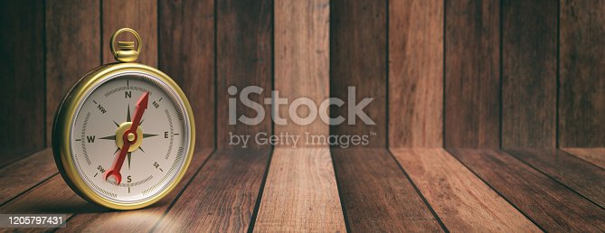 537607438 istock photo Compass instrument against wooden background. 3d illustration 1205797431