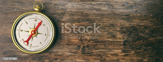 537607438 istock photo Compass instrument against wooden background. 3d illustration 1205797862