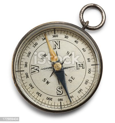 A compass on white with soft shadow. Clipping paths included.