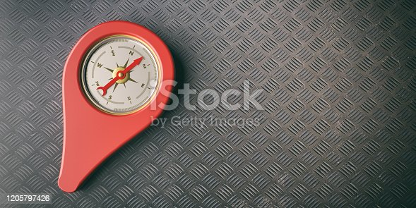 537607438 istock photo Compass location pointer instrument against metal background. 3d illustration 1205797426