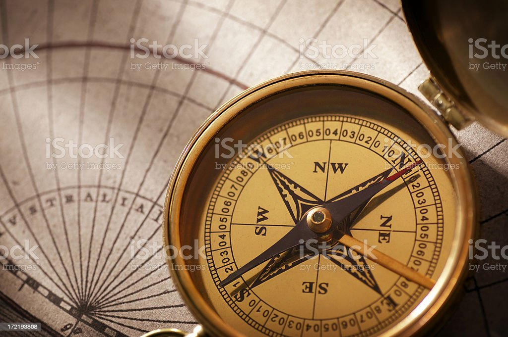 Compass & Map royalty-free stock photo