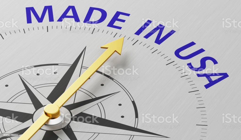 Compass needle pointing to the text Made in USA stock photo