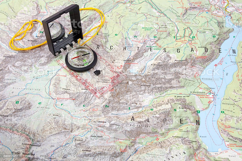 Compass on a hiking map of the Berchtesgaden Alps stock photo