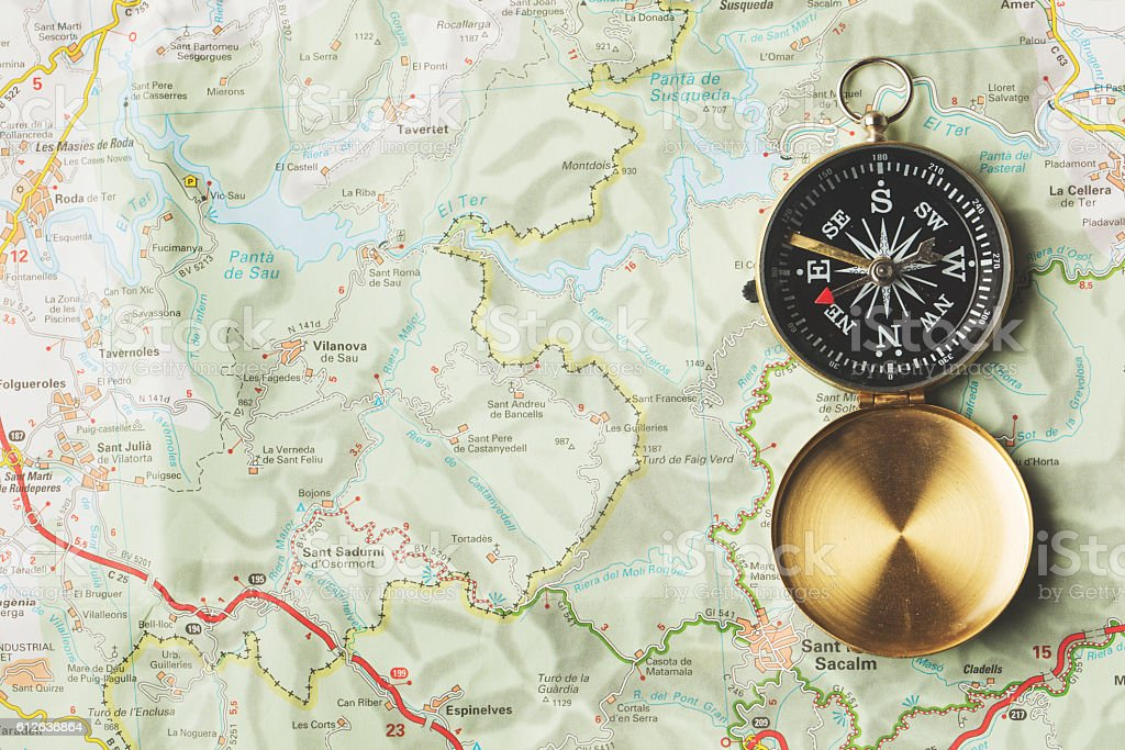 Compass on a map background stock photo