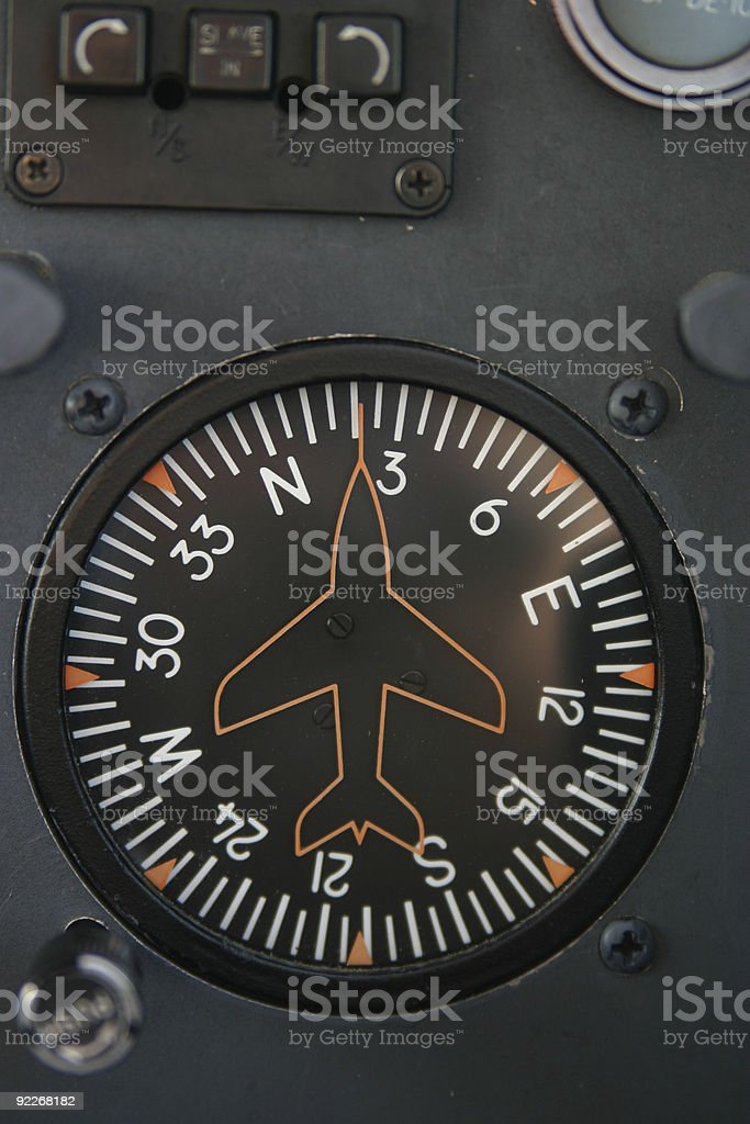 Compass on a Small Airplane stock photo