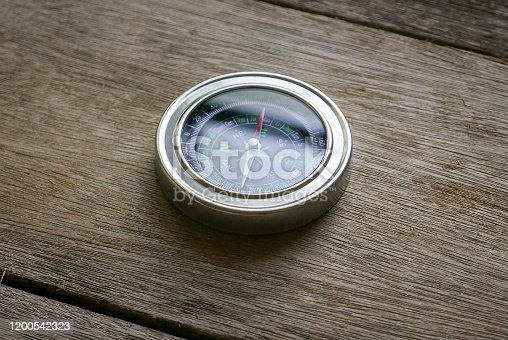 1149464558 istock photo Compass on a wooden background. 1200542323