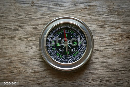 1149464558 istock photo Compass on a wooden background. 1200543401