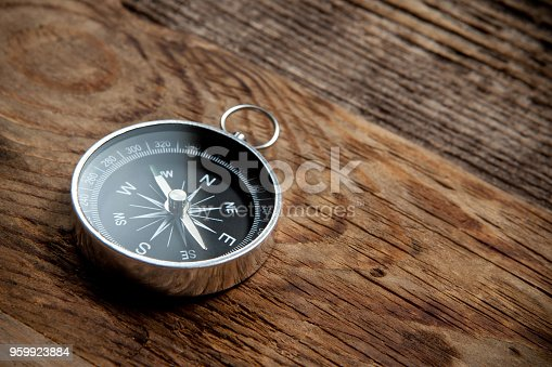 istock Compass on a wooden background 959923884